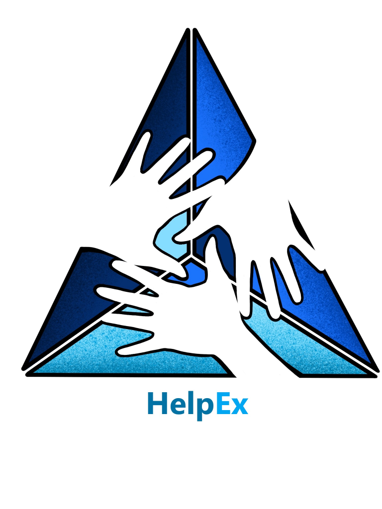 Logo of helpEx project - three open hands ona triangle
